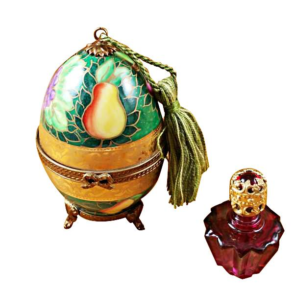 GREEN-ROSE EGG W/1 BOTTLE LIMOGES BOXES BOUTIQUE