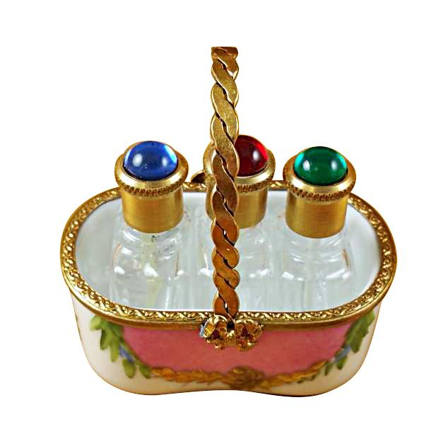 PINK BASKET W/3 BOTTLES LIMOGES BOXES BOUTIQUE