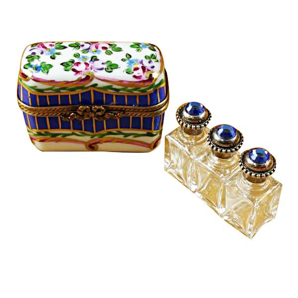 Blue And Floral Chest With Three Bottles Limoges Boxes Limoges Boxes Porcelain Figurines Collectibles French Gifts