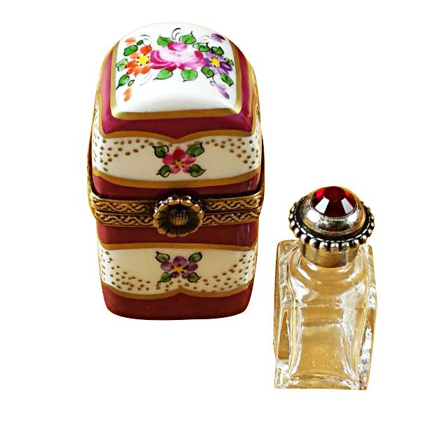 BURGUNDY TALL WITH FLOWERS AND BOTTLE LIMOGES BOXES - Limoges Boxes Porcelain Figurines