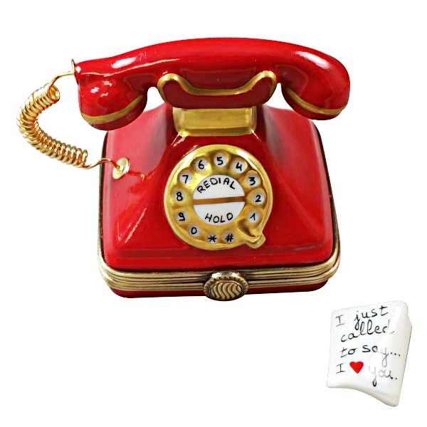 RED TELEPHONE WITH LETTER LIMOGES BOXES BOUTIQUE