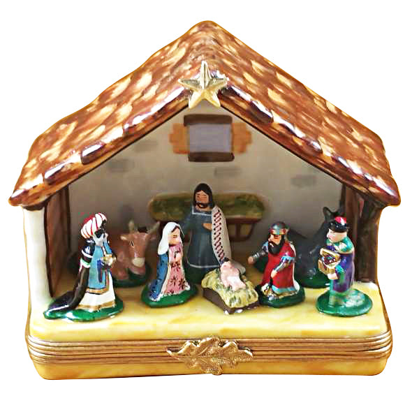 Nativity Limoges Box under Christmas Tree Porcelain Figurines