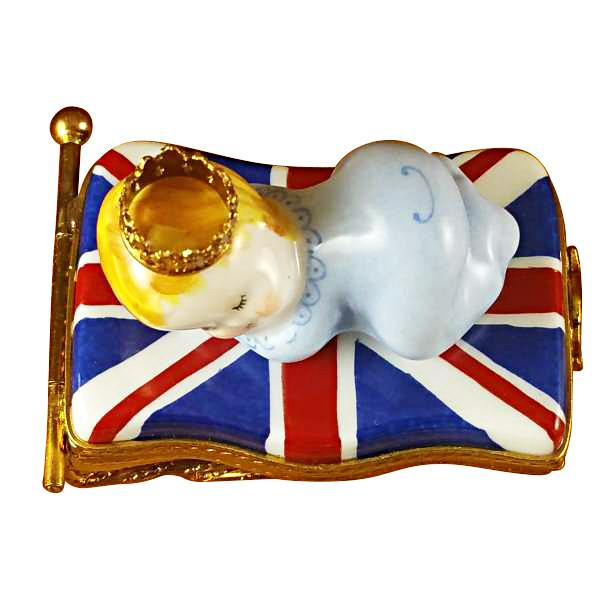 BRITISH FLAG WITH PRINCE GEORGE BABY LIMOGES BOXES - Limoges Boxes Porcelain Figurines