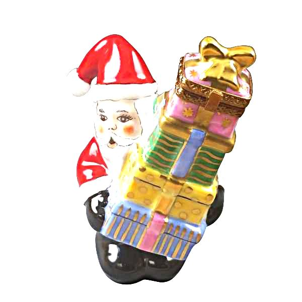 SANTA WITH STACKED PRESENTS LIMOGES BOXES - Limoges Boxes Porcelain Figurines