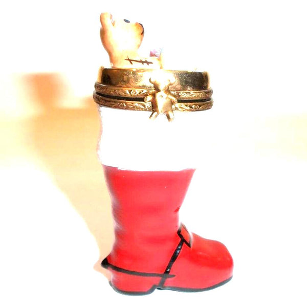 Stocking With Christmas Bear Limoges Box