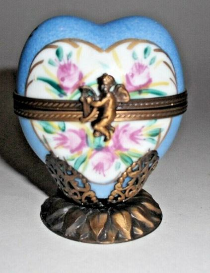 Blue Heart Flowers on Base w Perfume bottle Limoges Box - This will take 3 xtra Days to Ship