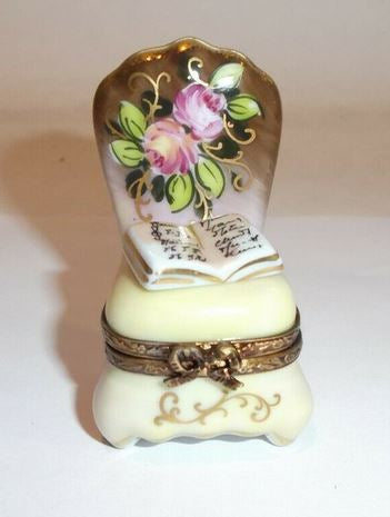 Chair Brown Flowers Limoges Box - This will take 3 xtra Days to Ship