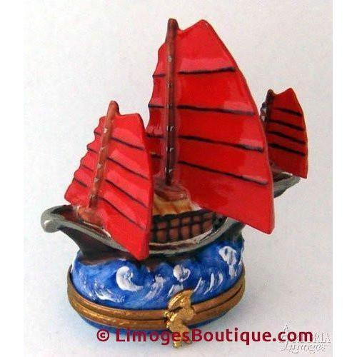 Chinese Junk Limoges Boxes - Limoges Boxes Porcelain Figurines