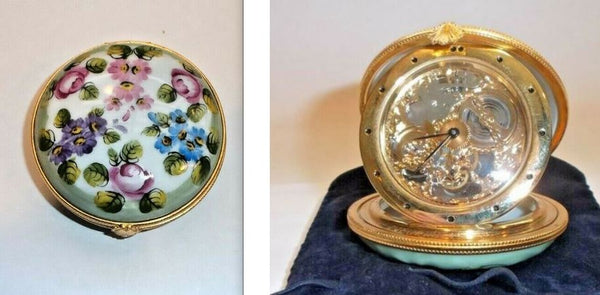 Monet Inspired Flowers Clock Pocket Watch Limoges Box - This will take 3 xtra Days to Ship