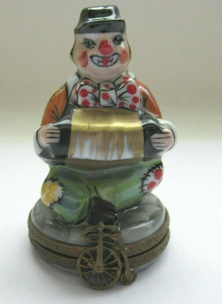Clown Accordian Retired Rare Limoges Box - La Gloriette
