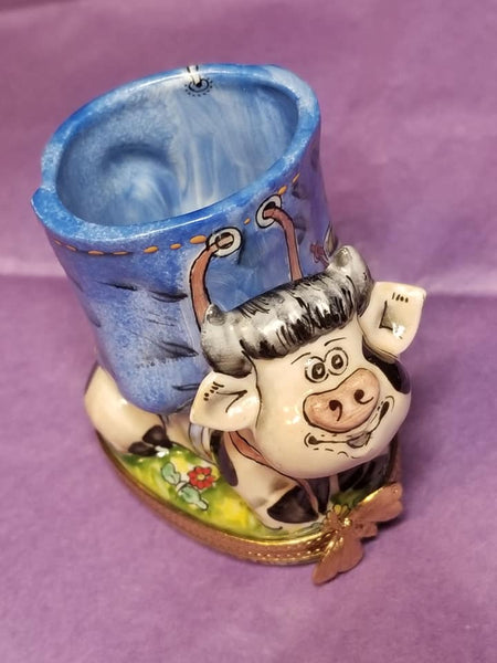 Cow Vase Pencil Holder Limoges Box - Overstock Item