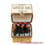 CRATE W/6 BOTTLES LIMOGES BOXES - Limoges Boxes Porcelain Figurines