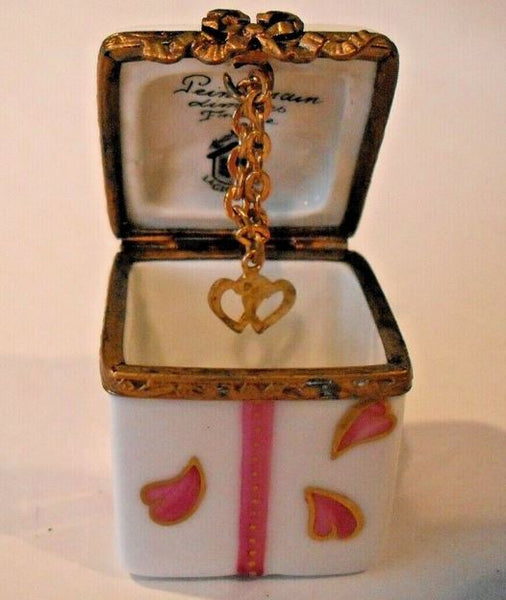 Heart Box with Dangle Heart Limoges Box