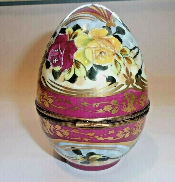"Large Red Egg 5"" Flowers Limoges Box"