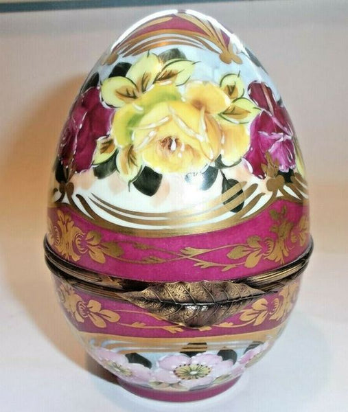 Large Flowers on Red Egg Limoges Box - This will take 3 xtra Days to Ship