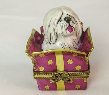 Dog in Present - RARE RETIRED - 3 Extra Days to Ship