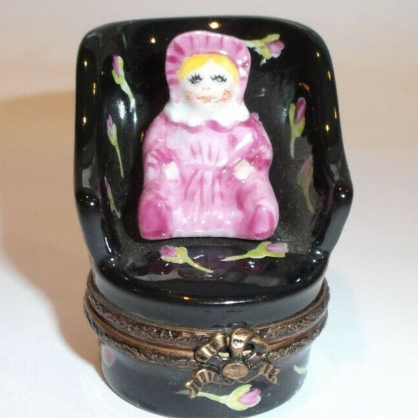 Doll on Chair Limoges Box - This will take 3 extra days to ship out
