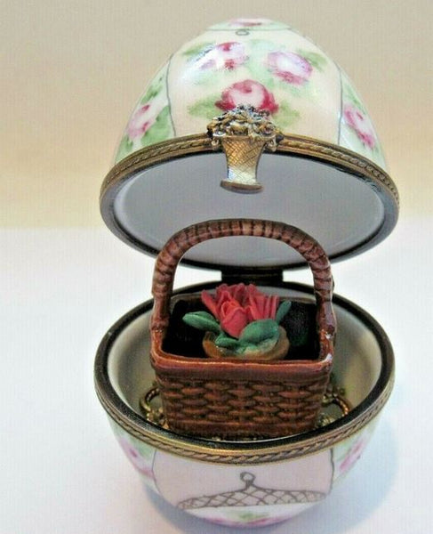 Flowers w Basket on Egg Limoges Box - This will take 3 xtra Days to Ship