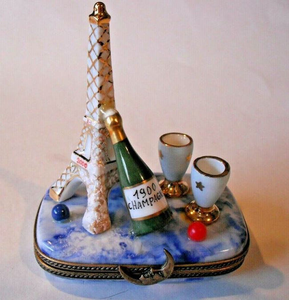 Eiffel Tower Champagne and Glasses France Colors Limoges Box 1 of 750 First One Painted - Retired Rare Limoges Box