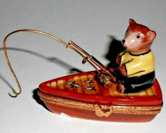 Teddy Bear Fisherman in Boat on Water Limoges Box - - La Gloriette