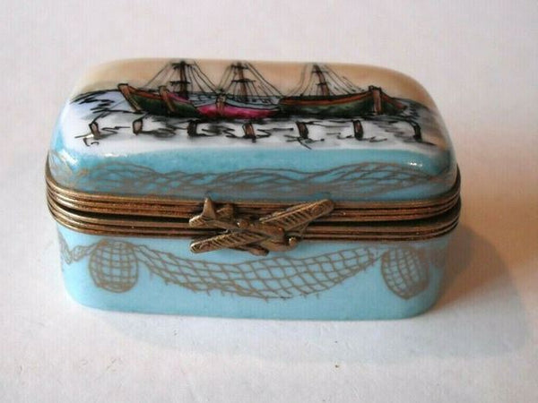 Ship Boat Ocean on Flat Limoges Box - This will take 3 extra days to ship out