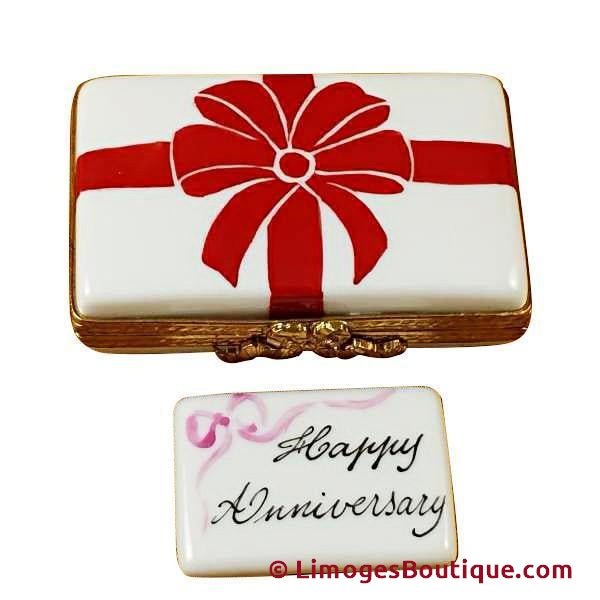 Anniversary Box With Red Bow - Happy Anniversary Limoges Box Limoges Boxes Porcelain Figurines Collectibles French Gifts