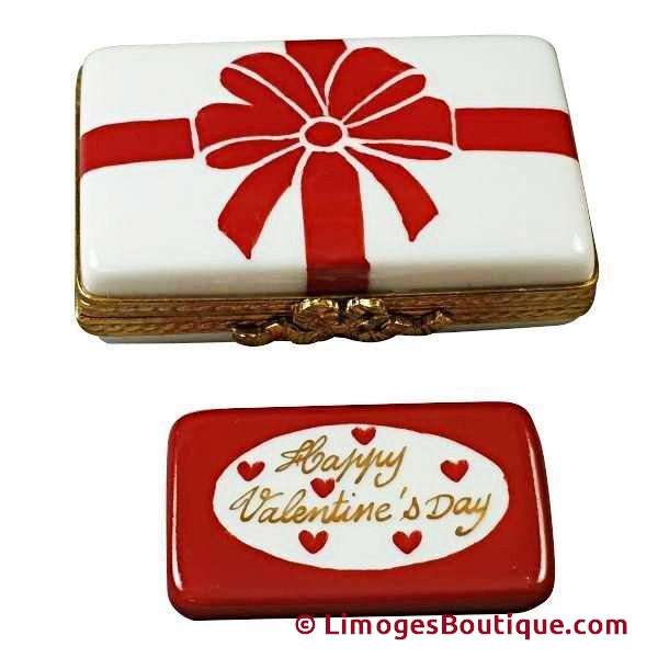 VALENTINE BOX WITH RED BOW - HAPPY VALENTINE'S DAY LIMOGES BOX - Limoges Boxes Porcelain Figurines