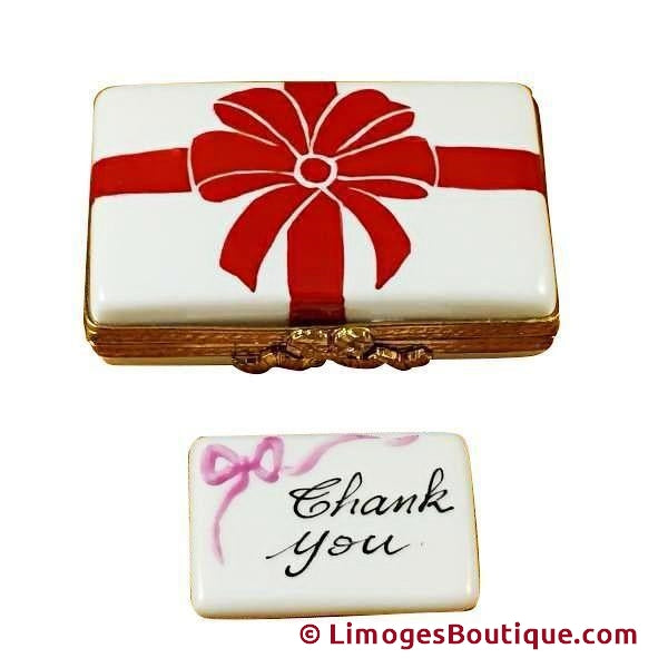 Gift Box With Red Bow - Thank You Limoges Box Limoges Boxes Porcelain Figurines Collectibles Gifts