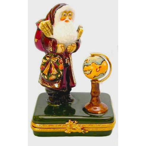 Lynn Haney: Santa With Globe Limoges Box Figurine