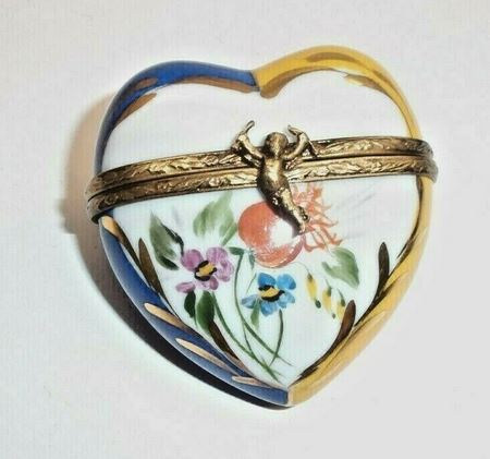 Yellow Blue Flowered Heart Limoges Box - This will take 3 extra days to ship out