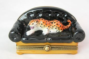 Leopard on Black Couch - RARE RETIRED - 3 Extra Days to Ship