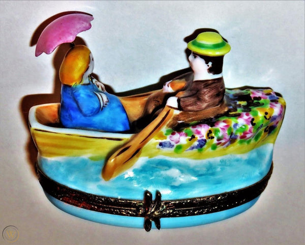 Lovers In Rowboat Limoges Box