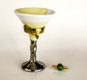 Martini Glass Olive -  RARE and RETIRED - 3 Extra Days to Ship