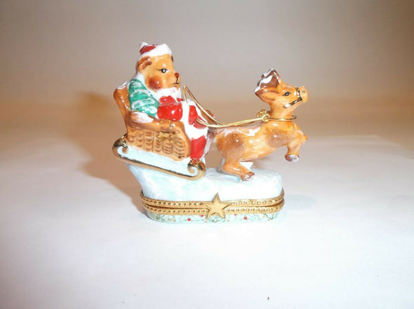 Teddy Bear Santa Claus Limoges Box