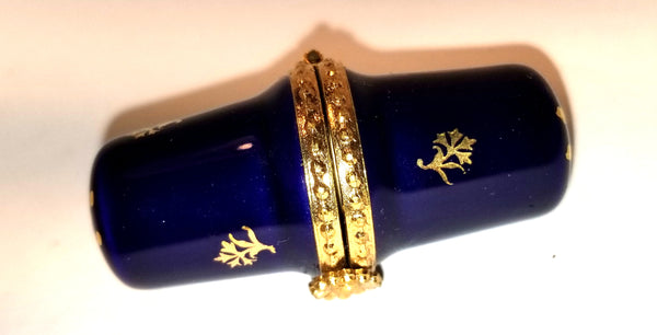 Cobalt Blue Thimble Gold Limoges Box