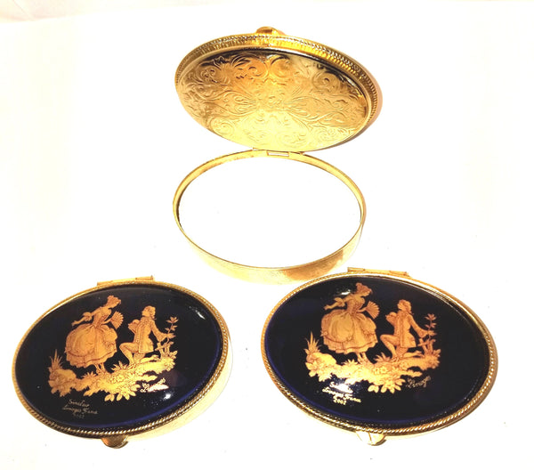1 Cobalt Blue round brass box Gold Lovers Limoges Box