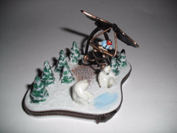 Snow Butterfly Airplane Polar Bear Alaska Limoges Box