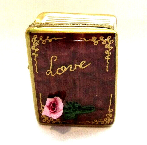 Love Book with Rose Flower Limoges Box