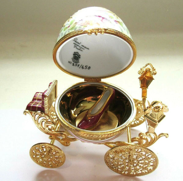 Gold Pink Cinderella Coach Egg w SLIPPER