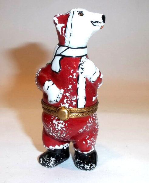 Polar Bear Santa Claus Limoges Box