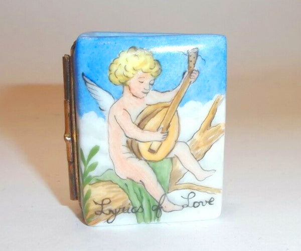 Cupid Book Lyre Music Lyrics of Love Cherub Angel Limoges Box