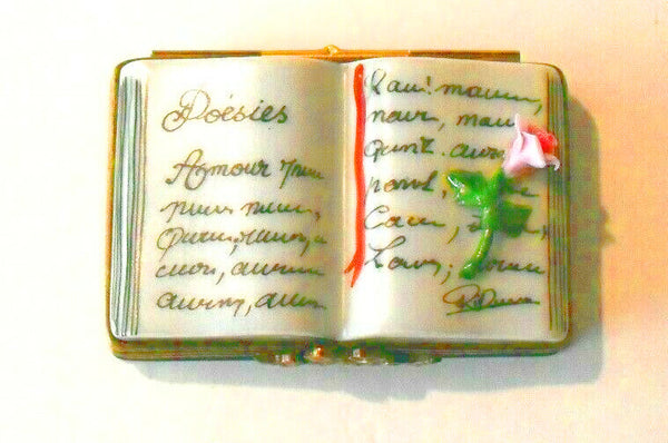 Poetry Book with Rose Poems Flower Limoges Box