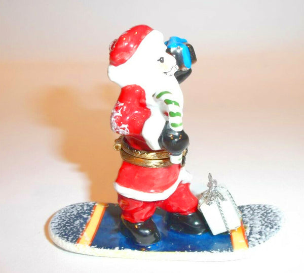 Santa Claus On Purple SnowBoard Limoges Box