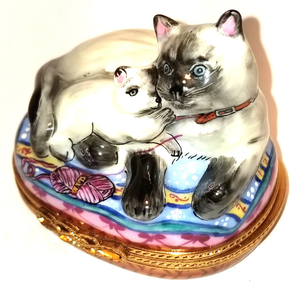 Siamese Cat with Kitten - Numbered 1 of 750 First One Painted - Retired Rare Limoges Box