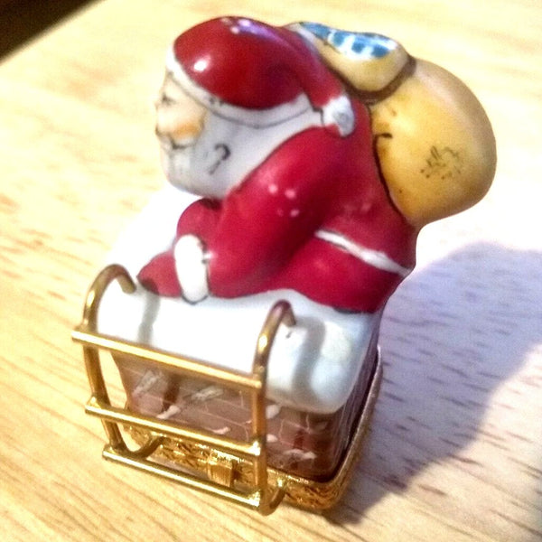 Very Small Santa Claus Climbing on Chimney Roof  Rare Retired