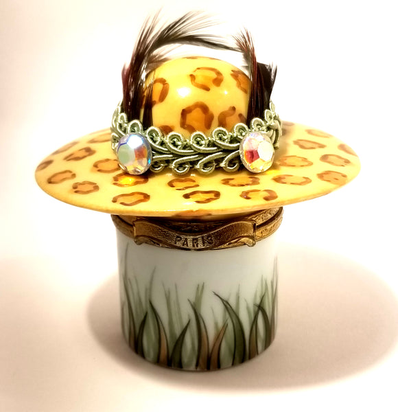 Paris Hat Box Feathered Leopard Limoges Box Numbered 1 of 750 First One Painted - Retired Rare Limoges Box