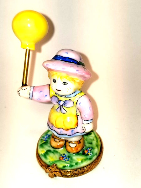 Baby Girl w Yellow Balloon 1 of 500 First One Painted - Retired Rare Limoges Box