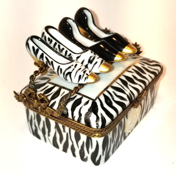 Zebra Shoe Box w Two Pairs of Shoes Numbered 1 of 750 First One Painted - Retired Extremely Rare Limoges Box