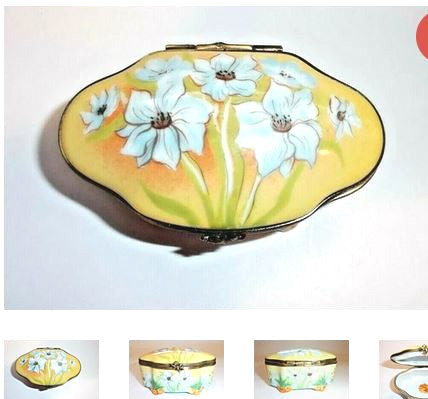 Monet Like Flowers on Traditional Limoges Box