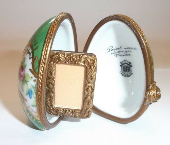 Picture Frame in Green Egg Limoges Box - This will take 3 xtra Days to Ship